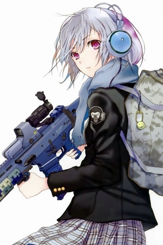 二次 銃火器もった美少女