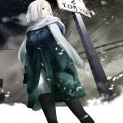 二次 コート着た女の子