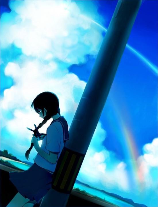 二次 夏らしい女の子の居る虹画像